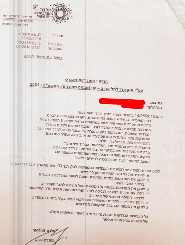 צו מבנה מסוכן לדוגמה בתל אביב